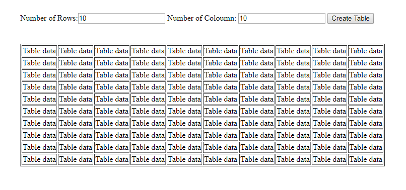 dynamic table using jQuery