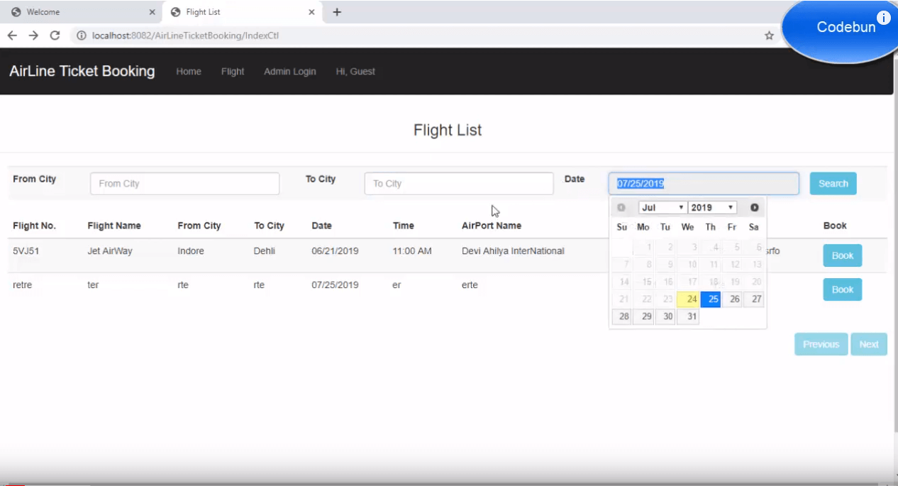 Online Flight booking project in java